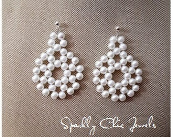 Round Pearl Statement Earrings