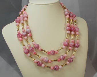 Vintage Pink and Gold 3 Strand Coro Bead Necklace  1189