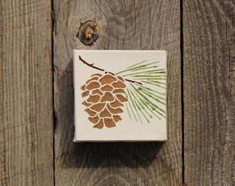 hand painted pine cone canvas, Pine tree, Pine cone decor, Nature decor, Forest decor