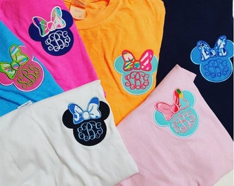 Minnie Mouse Design Applique Frame File for Embroidery Machine Monogram Instant Download wear to Disney to see Mickey