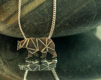 Pendant Bear Grizzly, sterling silver, Geometric patterns, Hand cut, jewelry
