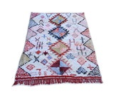 "81""X53"" Moroccan rug handwoven from scraps of fabric / boucherouite / boucherouette / kilim rug / beni ourain / moroccan wedding blanket"