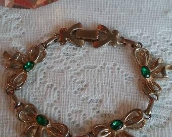 vintage green rhinestone bow bracelet