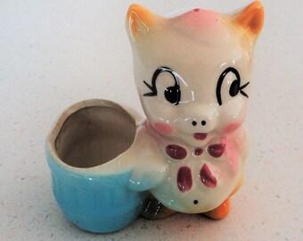 """Ceramic Vintage Pig Planter Collectible Home Decor """"Little Piggy"""" 1950"""