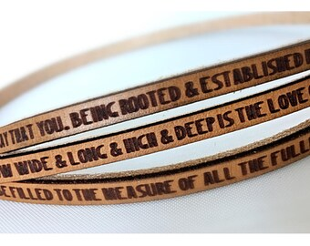 Ephesians 3:17-19  Daily Reminder Leather triple wrap bracelet