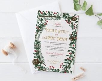 Printable Winter Wedding Invitation Set, Christmas Wedding Invitation  Suite, Pine Branches And Holly Wedding
