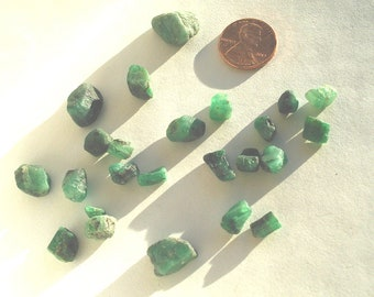 24 Natural Vintage Emerald Rough Crystal Chunks  Brazil gemstones healing stones wire wrapping metaphysical green jewelry supplies