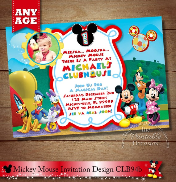 Mickey Mouse ClubHouse Invitation Mickey Invitation Clubhouse