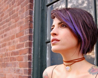 The Bowie- Faceted Glass Opal and Leather Tie- On Choker