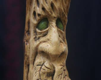 Wood Spirit Carving Wizard Green Man Gnome Tree Sculpture Cabin Decor Fantasy carving woodland creature Pagan Face Watcher Guardian Wiccan