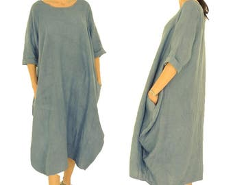 HW500BL dress blue linen balloon dress oversize vintage size 42 / 44 medium blue