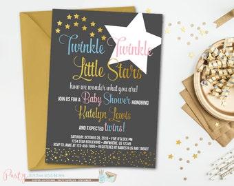 Twinkle Twinkle Little Star Baby Shower Invitation, Twins Baby Shower Invitation, Twinkle Twinkle Little Star Twins Baby Shower Invitation