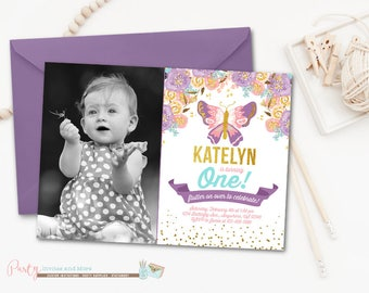 Watercolor Butterfly Birthday Invitation, Butterfly Birthday Invitation, Butterfly Invitation, Garden Party Birthday Invitation, Watercolor
