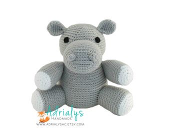 Crochet Hippo - Stuffed Hippopotamus- Hippo Plush- African Animals- Safari Animals- Handmade Hippo-Crochet Toy- Jungle Animals-Made to Order