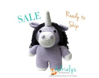 SALE- Crochet Unicorn | Crochet Toy | Purple Unicorn | Unicorn Gift | Unicron Party | Crochet Animals | Unicorn Plush | Ready to Ship