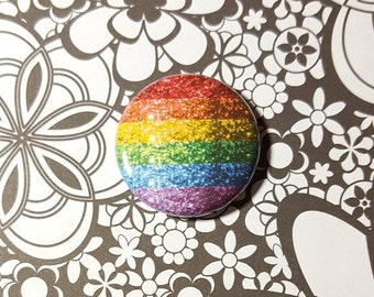 Faux Glitter Rainbow Flag LGBT Pinback Button or Magnet