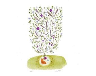 plum tree illustration, kitchen art, watercolor floral painting, ORIGINAL watercolour kitchen decor wall art, ORIGINAL artwork