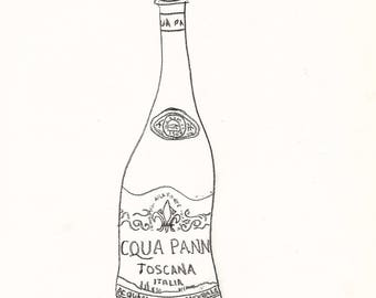 Una Bottiglia di Acqua Panna - 18 in. x 24 in. Signed Print