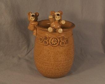 Vintage John Nishio Teddy Bear Jar