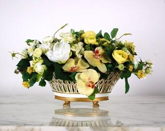 Floral Arrangement in Antique French Porcelain, Faux Flower Arrangement, White, Yellow, Orchid, Roses, Silk Floral Centerpiece