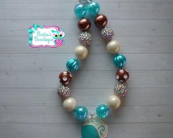 Moana Hawaiian Princess Chunky Bubblegum Necklace Moana Hawaiian Princess Necklace Moana Necklace