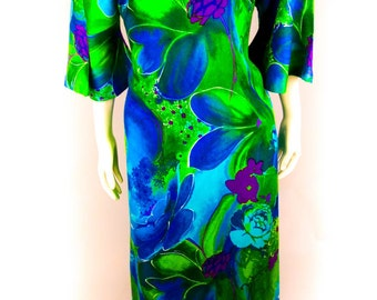 Vintage Rare 1960's Two Potato Laguna Beach California Full Length Vibrant Vivid Psychedelic Hawaii Hawaiian Print Dress Size Medium Muumuu