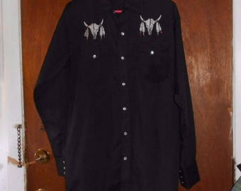 Mens Vintage High Noon Western Shirt Cow Skulls Pearl Snaps S Small