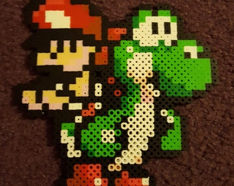 Yoshi and Baby Mario perler sprite