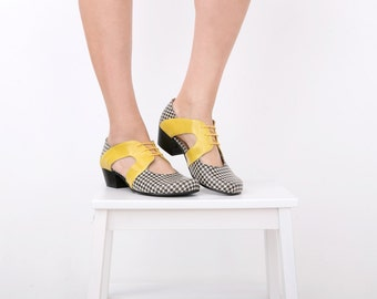 Women's Leather Shoes, Houndstooth and Yellow Geometric footwear with cutout detail heels , handmade ADIKILAV On Sale 15% off