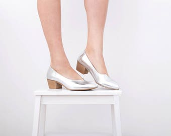 Women's Silver shoes , Leather shoes with chunky heels , handmade ,On Sale 15% off
