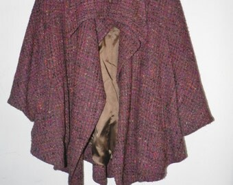 Unconstructed Couture Jacket Wool Boucle Plum Wine Tweed Large XL Women's