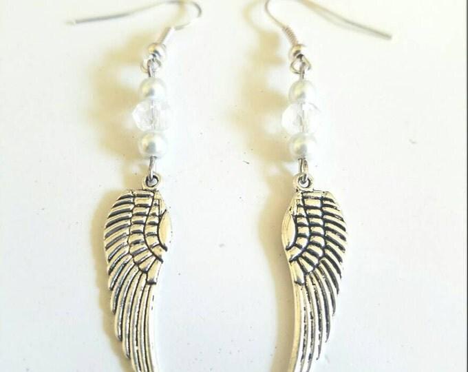 Angel Wing White Dangle Earrings