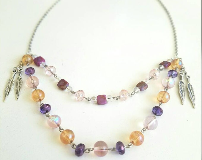 Pink Purple Amber Opal Stone Feather Beaded Multi Strand Chain Necklace