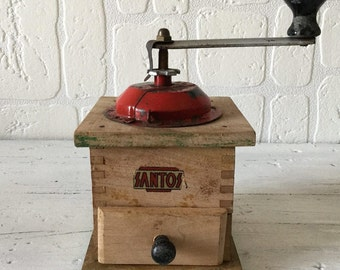 Italian  Coffee Grinder, Wooden Coffee Mill, Coffee Grinder, Retro Coffee Mill, Hand Coffee Grinder, Farmhouse, Kitchen