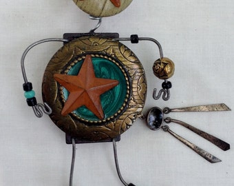 Bohemian Star Pin Doll,Fantasy Art,Wearable Art,Whimsical Jewelry,Wishing on a Star,Storyteller Art Pin,Assemblage Art,Recycled,Reclaimed