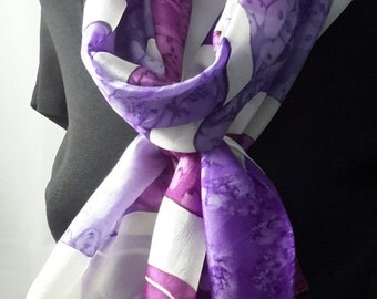 Silk scarf long hand painted delphinium purple magenta lilac grey white
