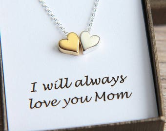 Mother Daughter Necklace, Mother Daughter Jewelry, Gold Silver Heart Necklace, Double Heart Necklace, Sisters Necklace, Mother Daughter gift