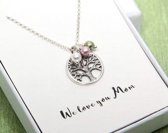 Personalized Necklace for Mom, To Mom From Daughter, Tree of Life Necklace, Family Tree Necklace, Birthstone Necklace, Gift For Mom Necklace