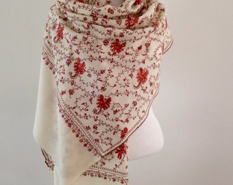 SALE!! EMBROIDERED SHAWL, hand needlework, made in Kashmir, crekam, rust, handmade, pure wool, wedding