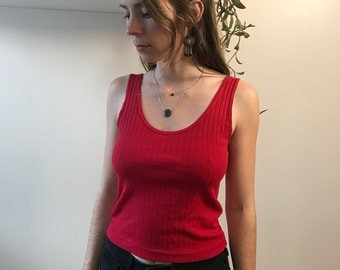 Vintage Red Muted Striped Scoop Tank