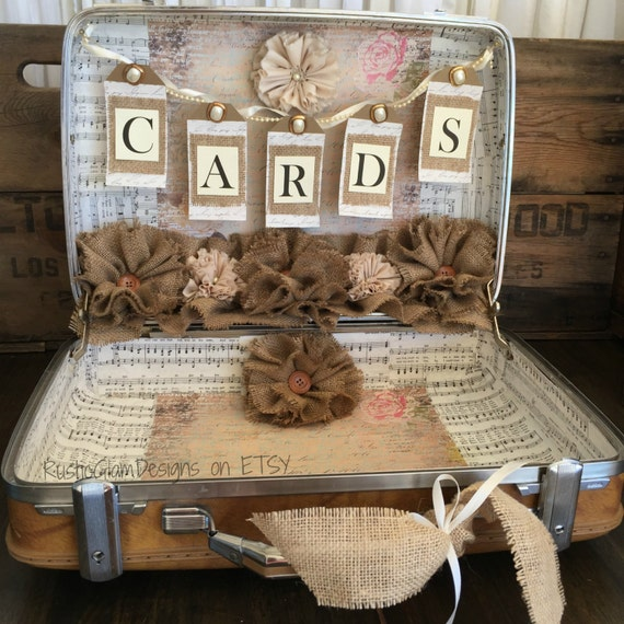 Vintage Wedding Gift Card Holder : Vintage Suitcase Wedding Card Holder Rustic Wedding gift table card ...