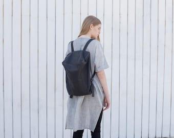 Ash Black Leather Backpack, Women Backpack, Leather School Backpack, College Bag, Travel Backpack, Rucksack - Cloudy Black Lou