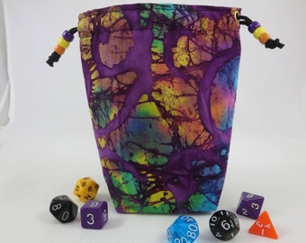 LARGE size / Fabric Bag / Drawstring Pouch / Dice Bag / Gaming Bag /  Gift Bag /Purple with Colors