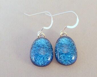 Sky Blue Teardrop Dichroic Fused Glass Dangle Earrings, Dichroic Earrings, Fused Glass Earrings, Glass Earrings,Dangle, Dichroic, Blue