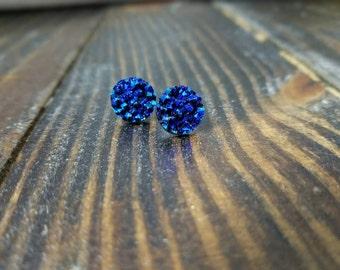 Midnight Blue Faux Druzy Stud Earrings - 12mm
