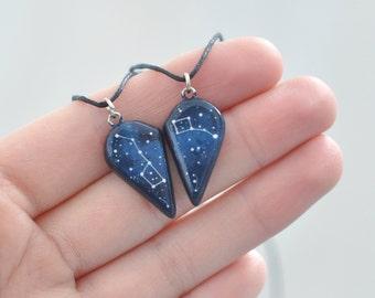 Set of 2 necklaces Half heart Big Little Dipper Anniversary gift Boyfriend Girlfriend Galaxy jewelry Ursa Minor Major Jewelry Pendant