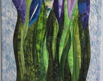 Art Quilt Purple Flowers 3, Wall Hanging