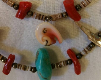 Old Pawn Heishi Bird Coral & Turquoise Necklace, Turquoise, Old Pawn Turquoise, Heishi Bead Necklace, Turquoise Heishi (Item#30)