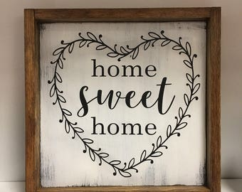 Home Sweet Home Sign   Shabby Chic Home Decor   Housewarming Gift   Wedding Gift   Farmhouse Style   Cottage Style Decor   Framed Sign