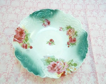 Vintage Aqua Pink Roses Large Serving Bowl Shabby Chic Cottage